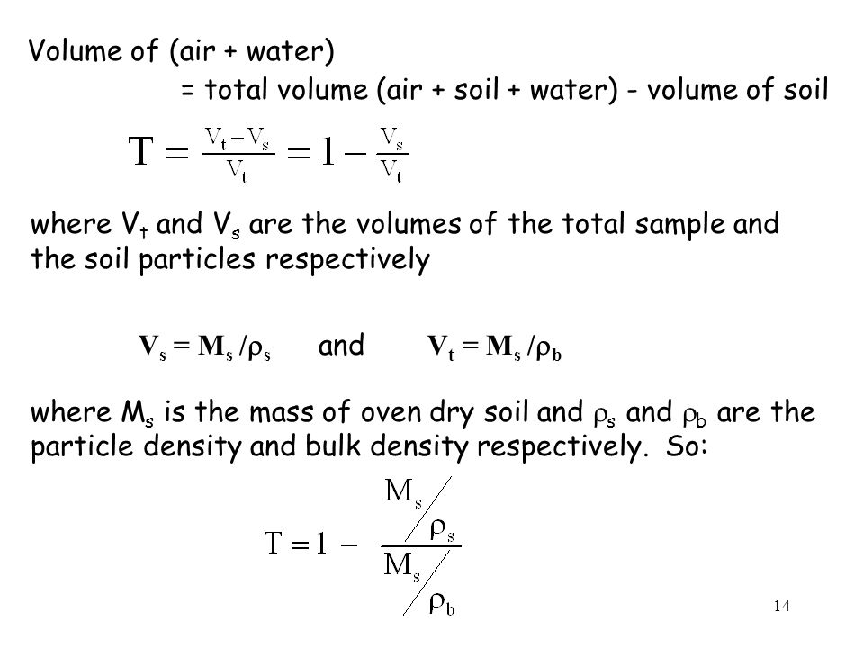 Volume of (air + water) = total volume (air + soil + water) - volume of soil. where Vt and Vs are the volumes of the total sample and.