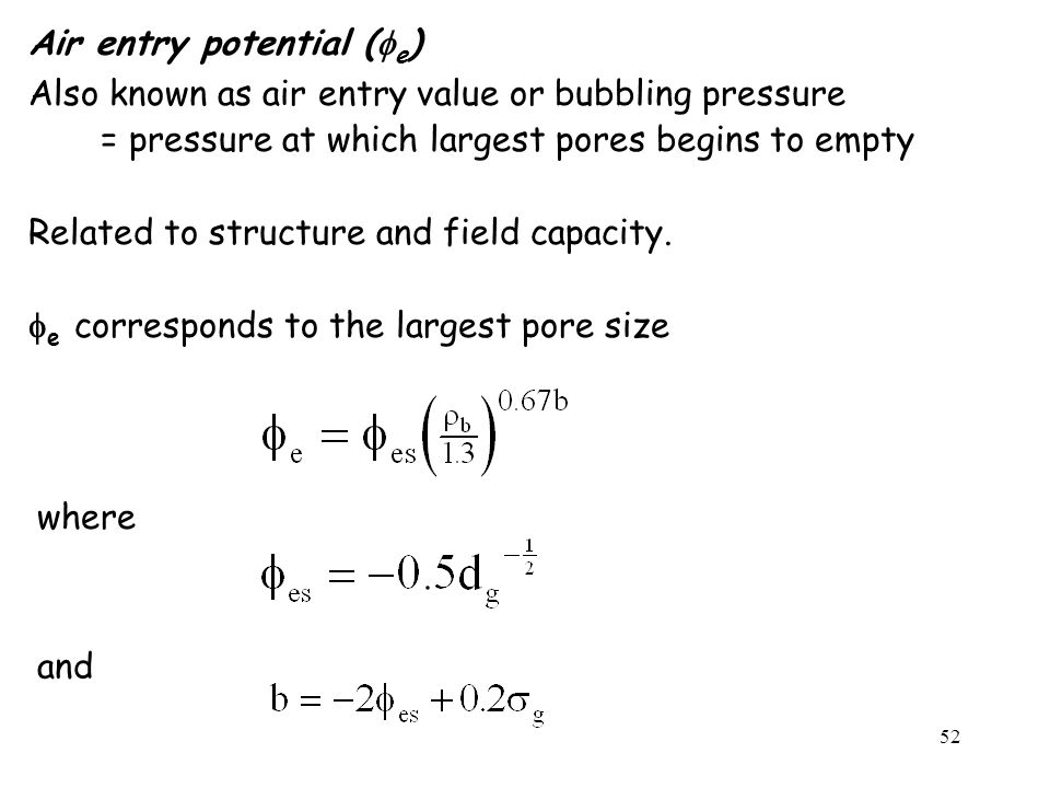Air entry potential (fe)