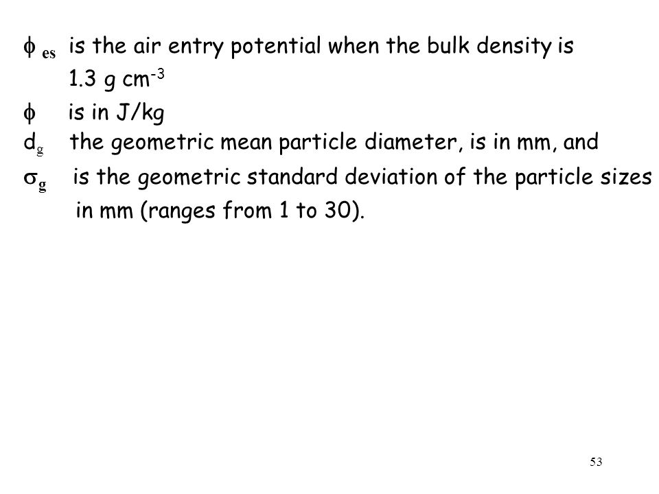 f es is the air entry potential when the bulk density is f is in J/kg