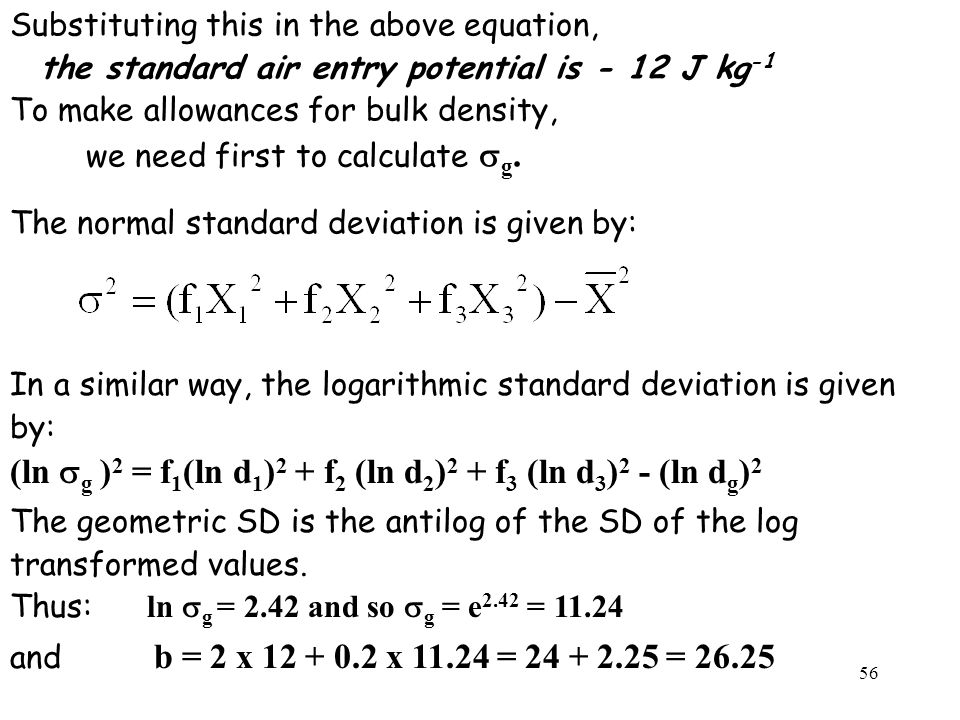 (ln sg )2 = f1(ln d1)2 + f2 (ln d2)2 + f3 (ln d3)2 - (ln dg)2