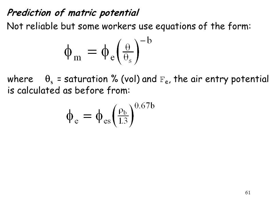 Prediction of matric potential