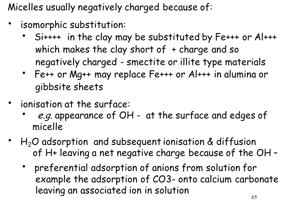 Micelles usually negatively charged because of: