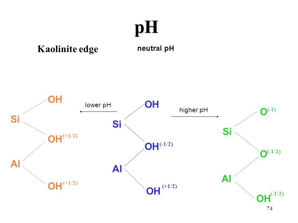 pH Kaolinite edge OH O Si Si Si OH Al Al Al OH neutral pH lower pH