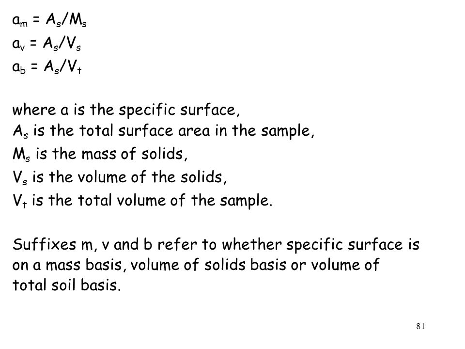 am = As/Ms av = As/Vs. ab = As/Vt. where a is the specific surface, As is the total surface area in the sample,