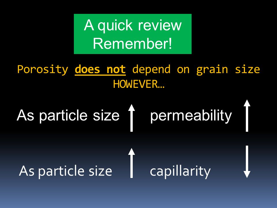 Porosity does not depend on grain size HOWEVER…