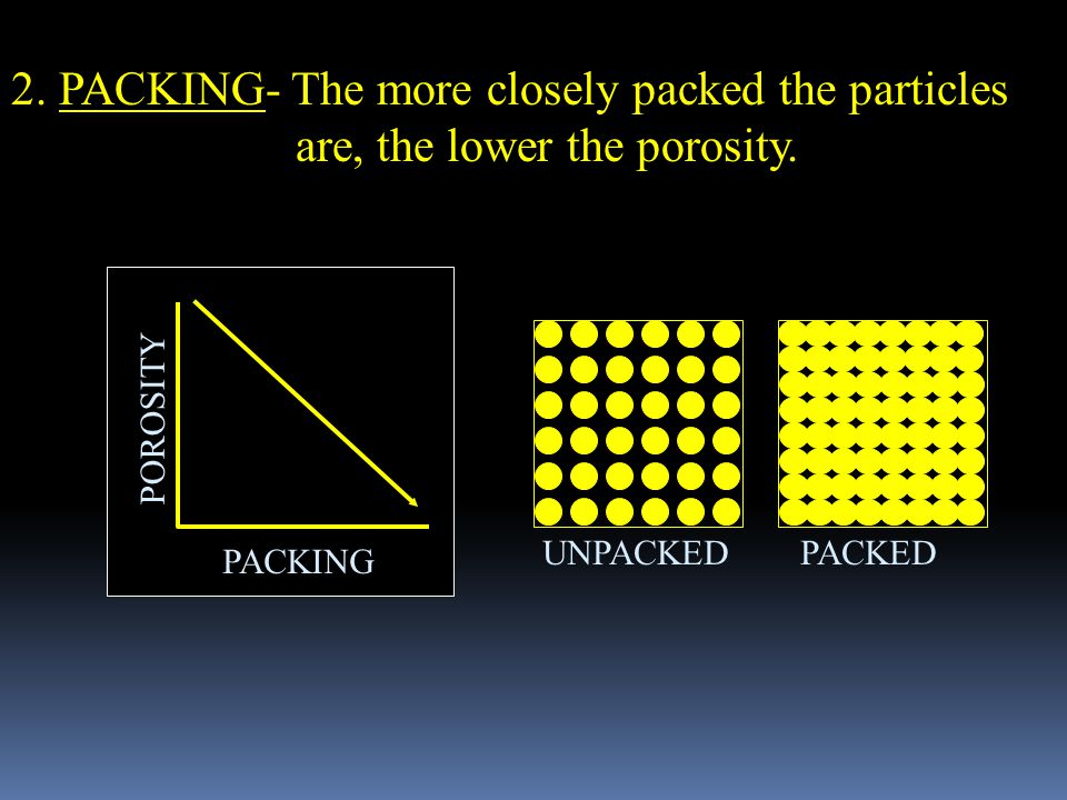 2. PACKING- The more closely packed the particles