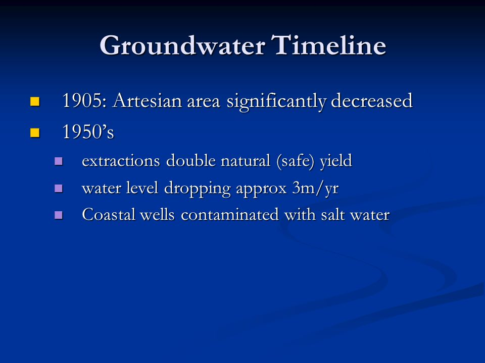 Groundwater Timeline 1905: Artesian area significantly decreased
