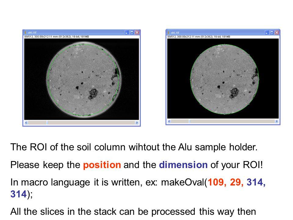 The ROI of the soil column wihtout the Alu sample holder.