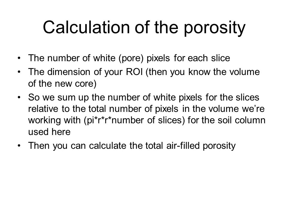 Calculation of the porosity