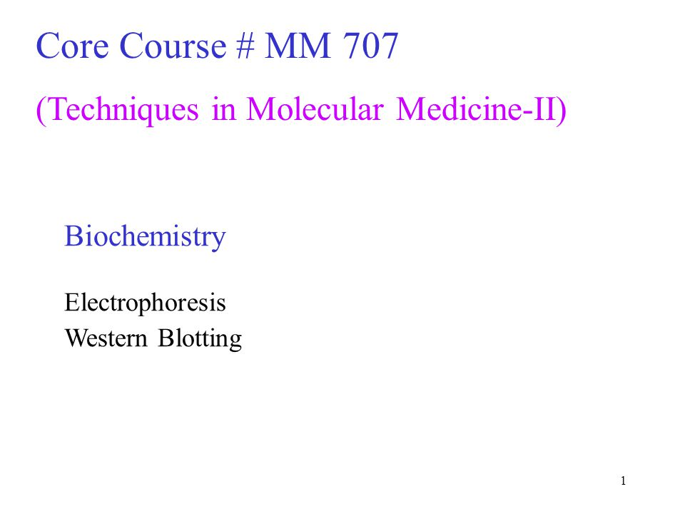 Core Course # MM 707 (Techniques in Molecular Medicine-II)