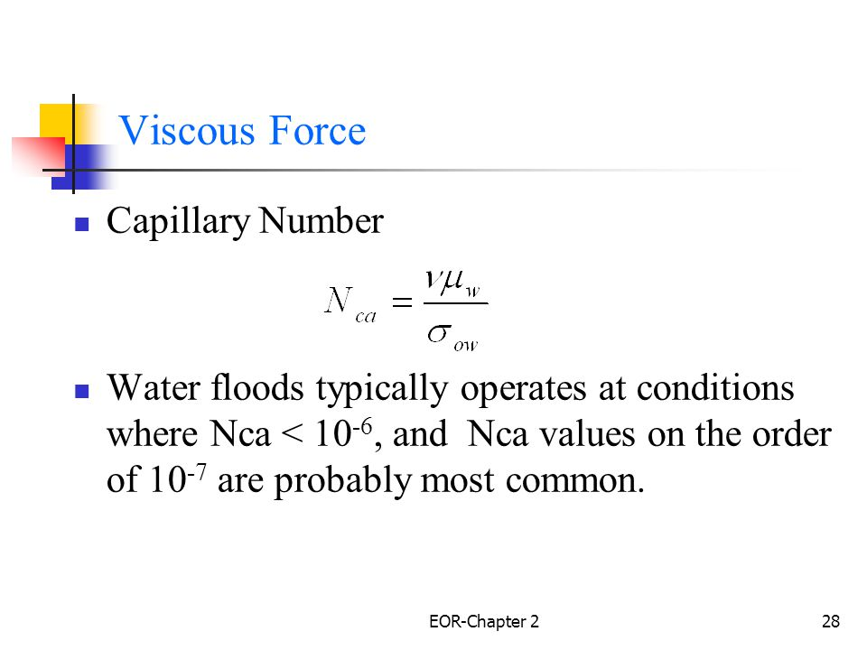 Viscous Force Capillary Number