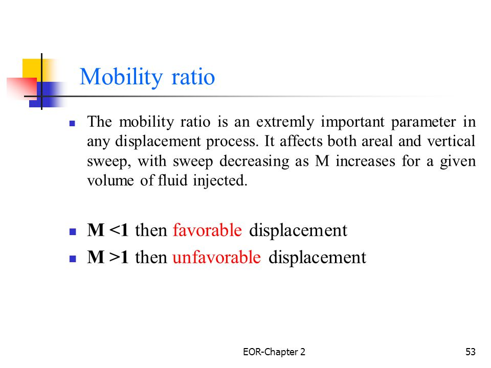 Mobility ratio M <1 then favorable displacement