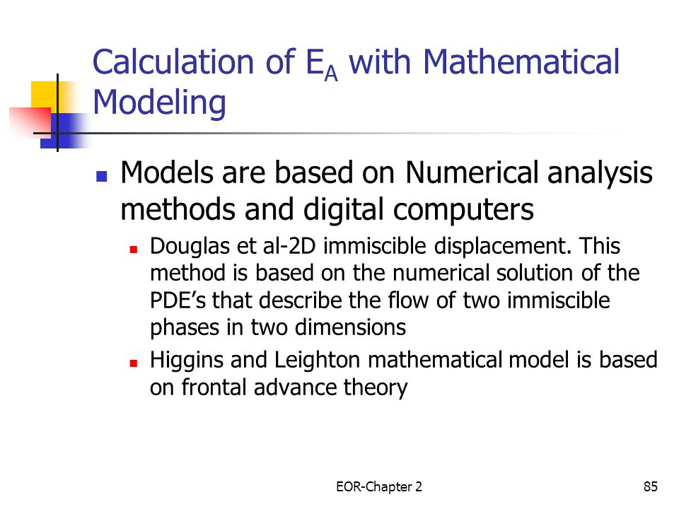 Calculation of EA with Mathematical Modeling