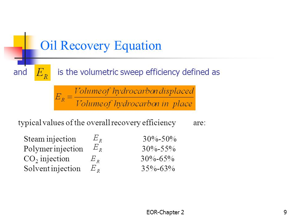 Oil Recovery Equation and is the volumetric sweep efficiency defined as. typical values of the overall recovery efficiency are: