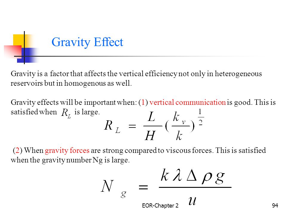 Gravity Effect Gravity is a factor that affects the vertical efficiency not only in heterogeneous reservoirs but in homogenous as well.