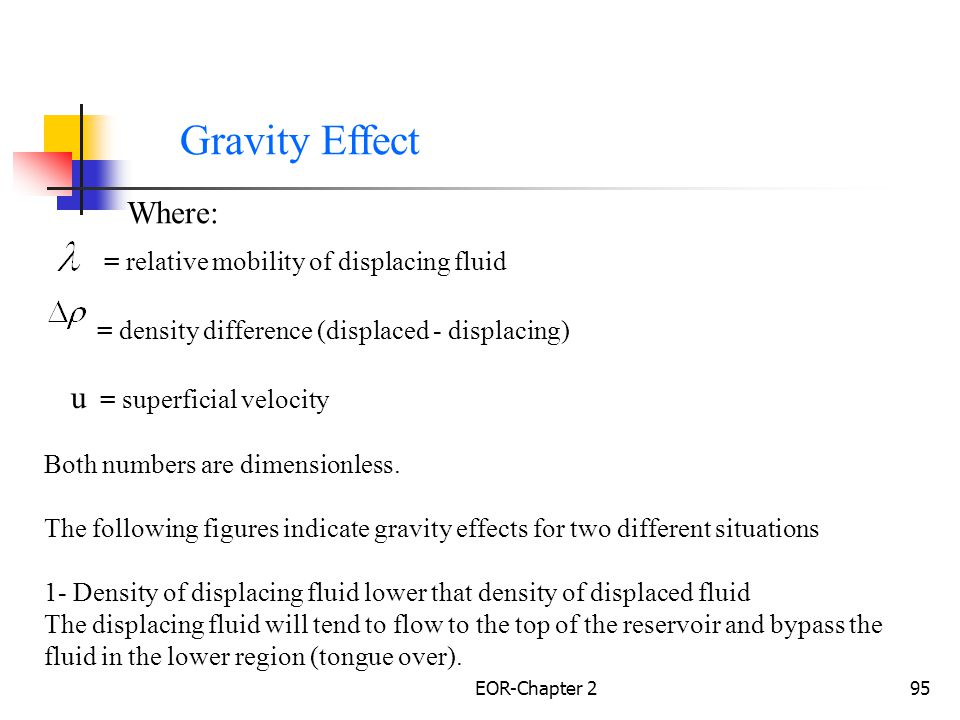 Gravity Effect Where: = relative mobility of displacing fluid