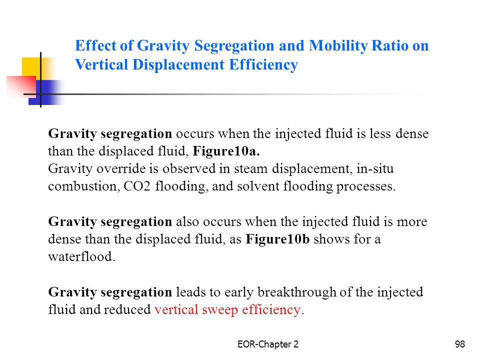 Effect of Gravity Segregation and Mobility Ratio on Vertical Displacement Efficiency