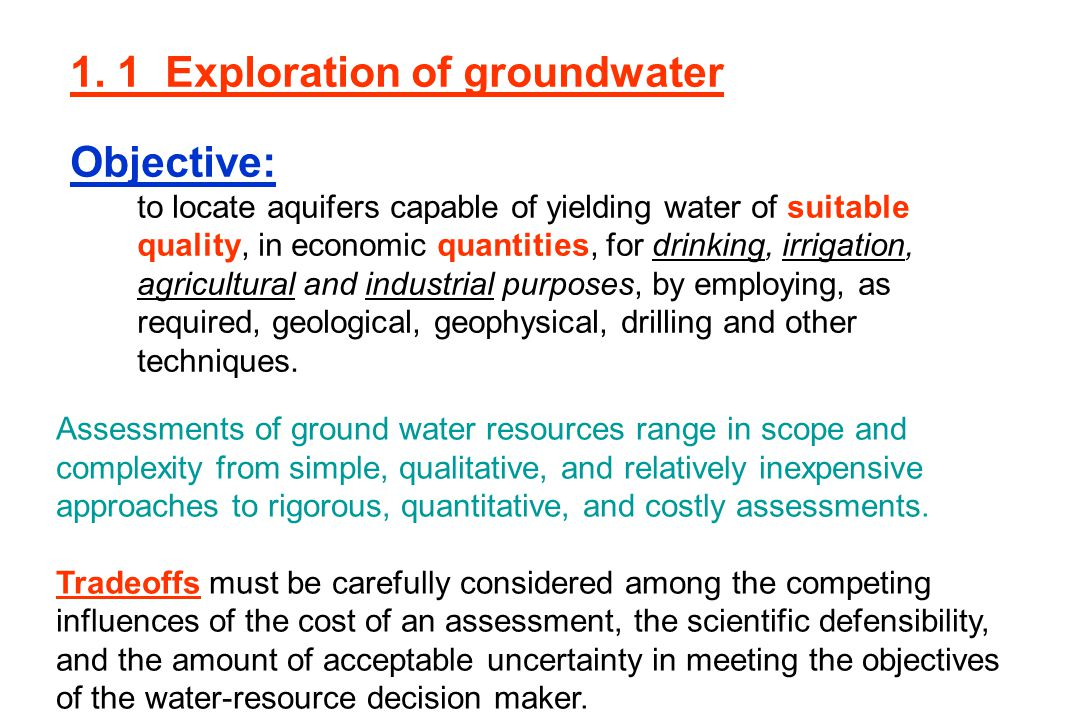 1. 1 Exploration of groundwater Objective: