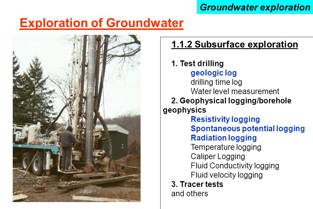 Exploration of Groundwater