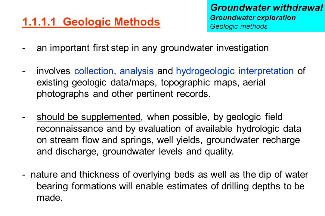 1.1.1.1 Geologic Methods Groundwater withdrawal