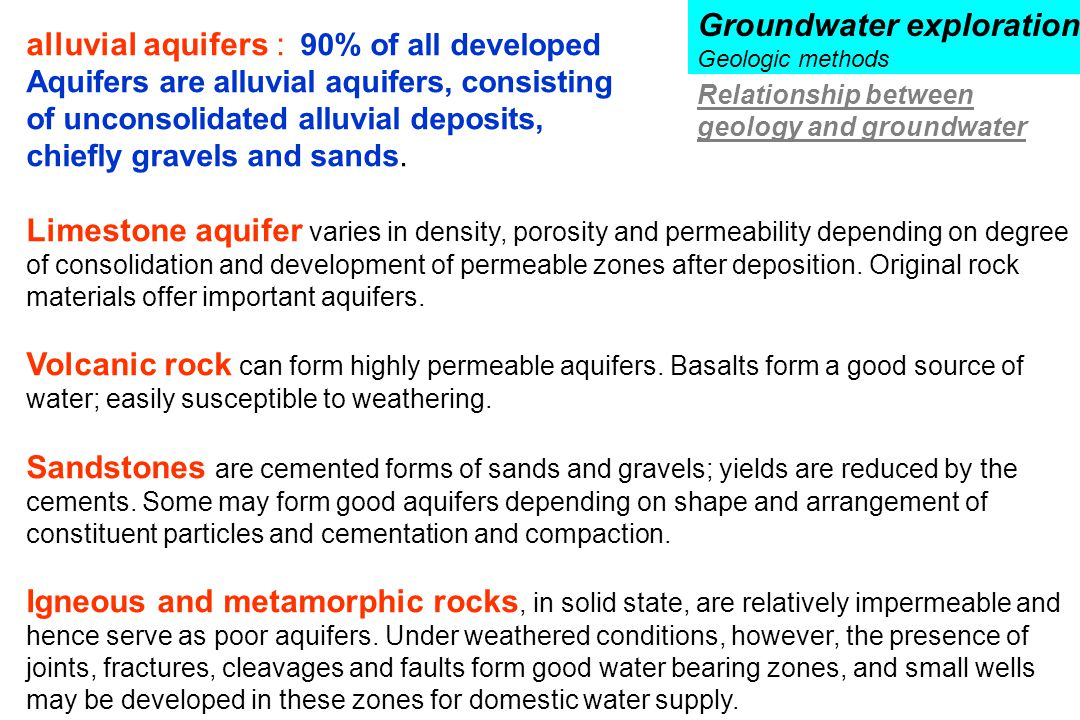 Groundwater exploration alluvial aquifers : 90% of all developed