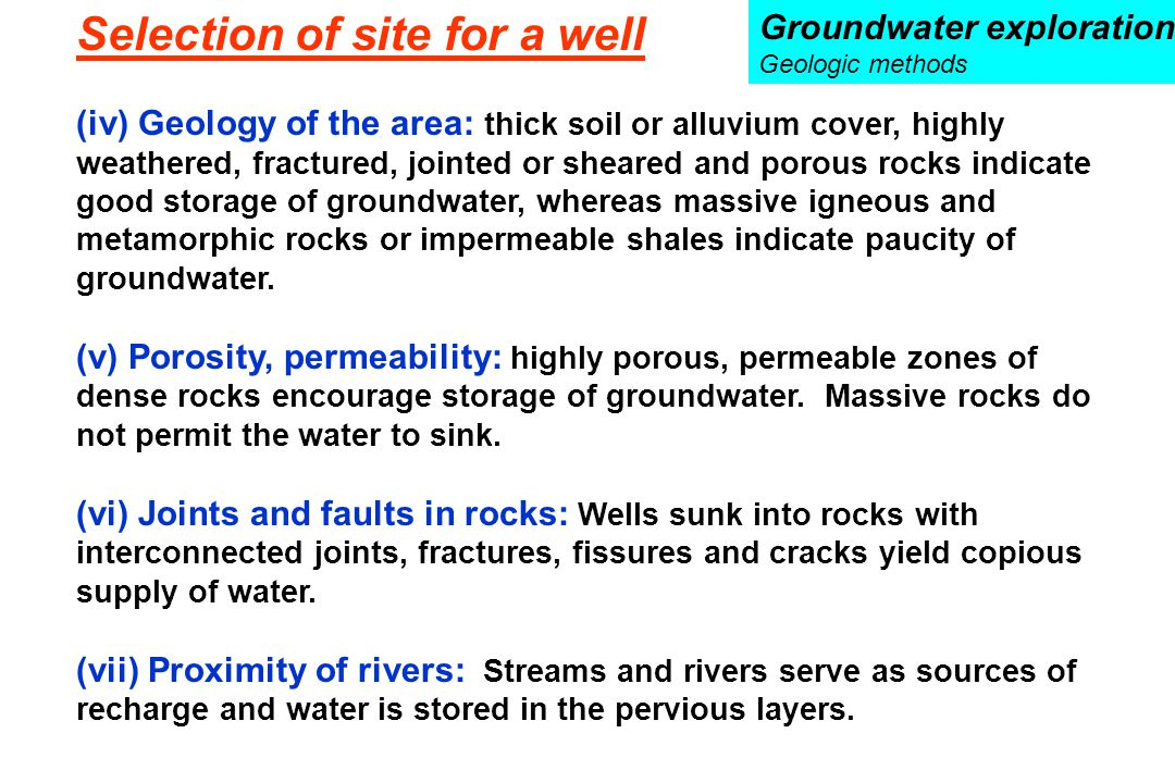 Selection of site for a well