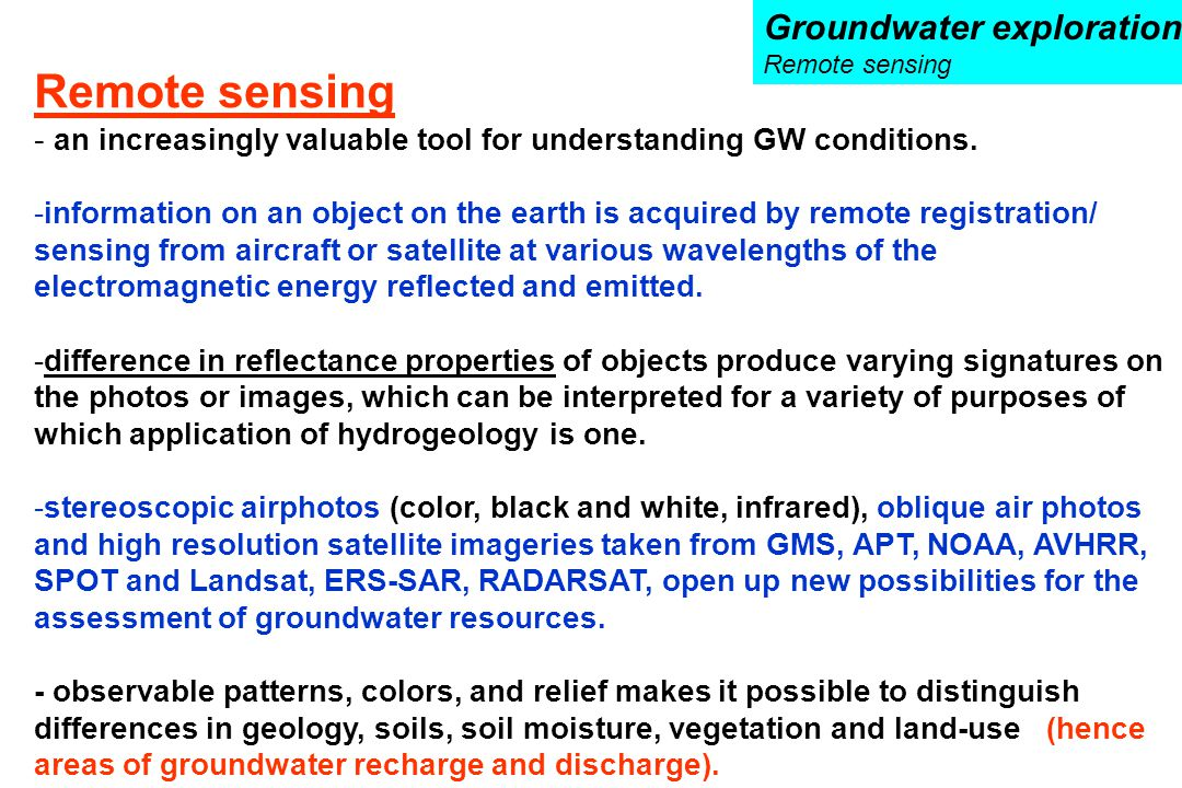 Remote sensing Groundwater exploration