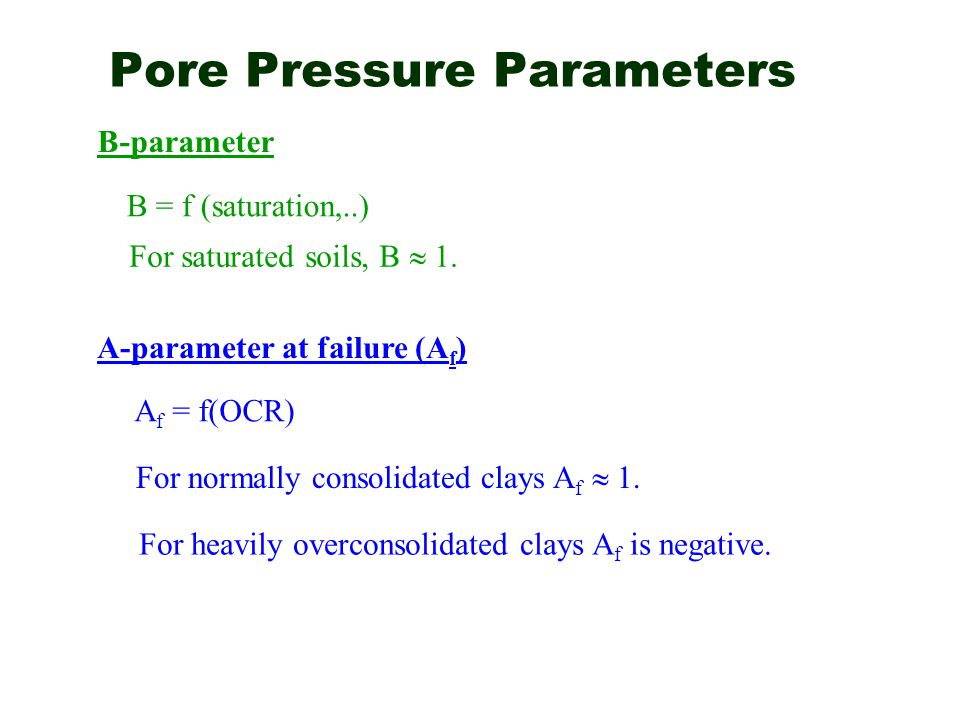 Pore Pressure Parameters