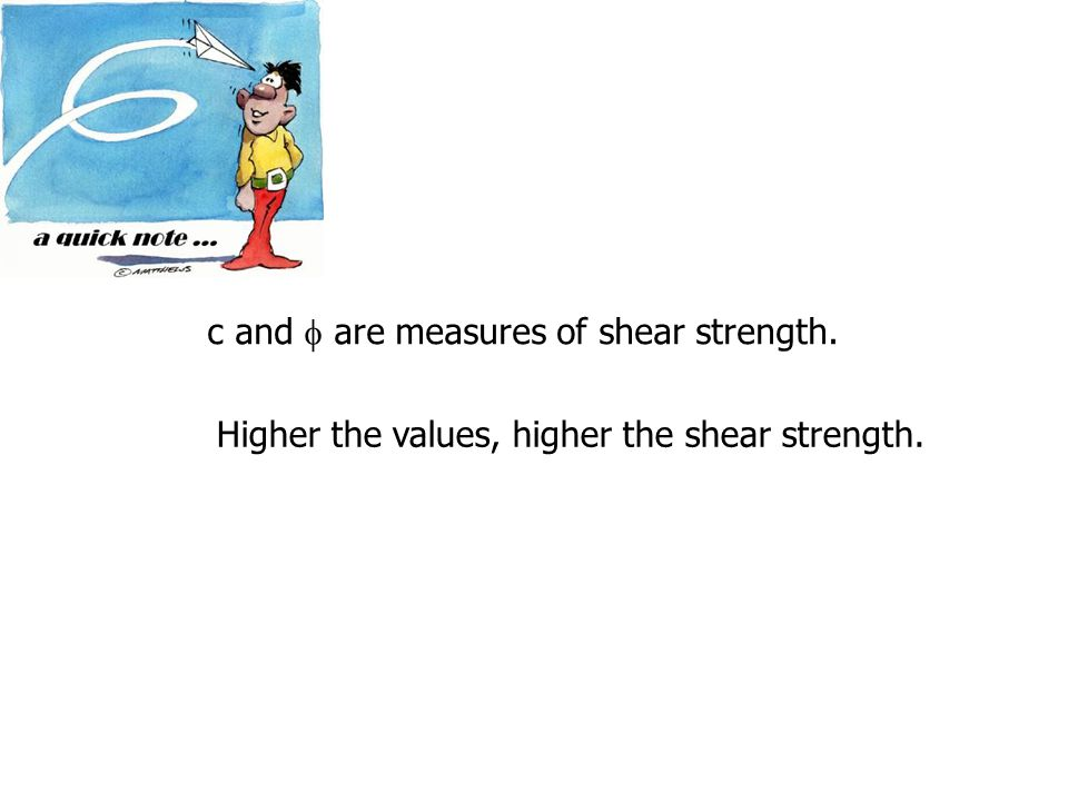c and  are measures of shear strength.