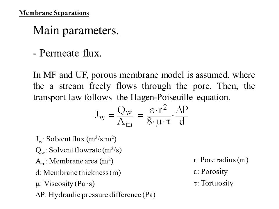 Main parameters. - Permeate flux.