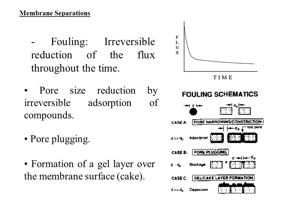 - Fouling: Irreversible reduction of the flux throughout the time.