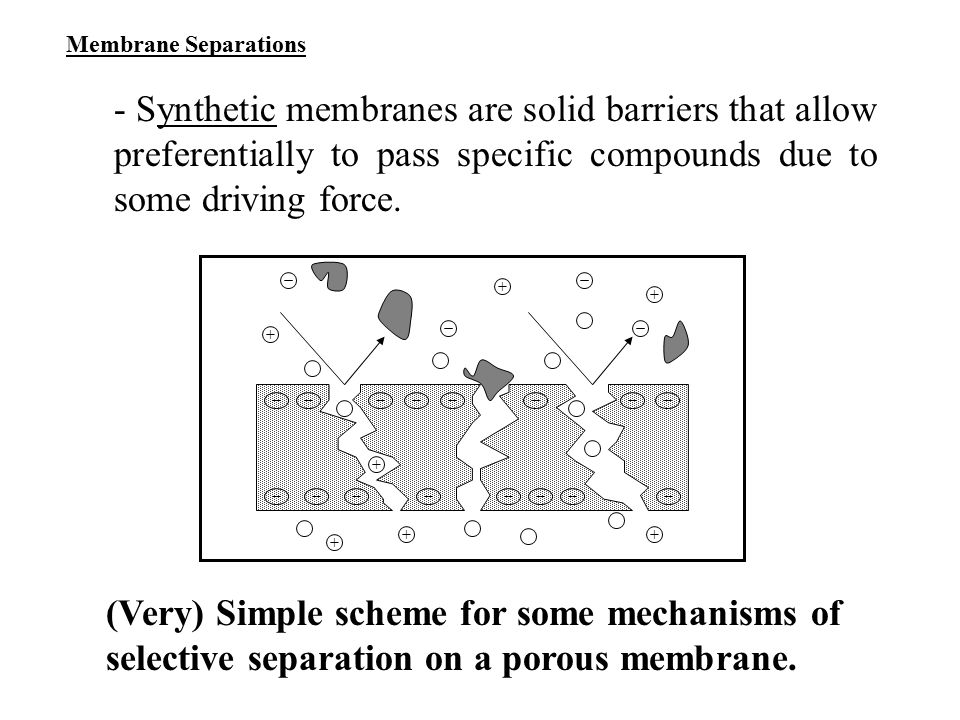 Membrane Separations - Synthetic membranes are solid barriers that allow preferentially to pass specific compounds due to some driving force.