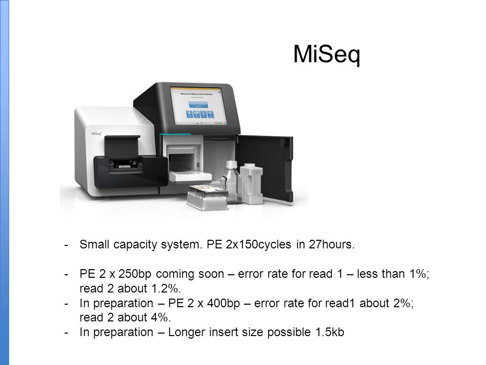 MiSeq Small capacity system. PE 2x150cycles in 27hours.