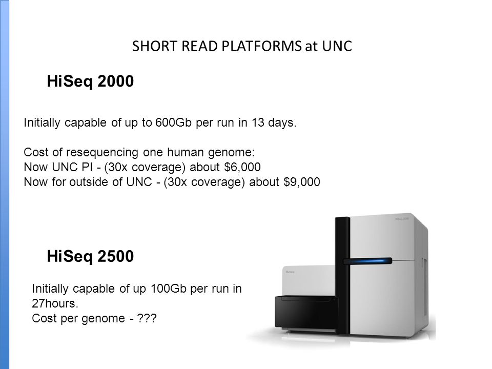 SHORT READ PLATFORMS at UNC