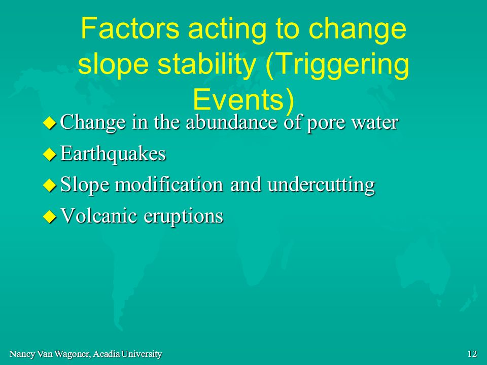 Factors acting to change slope stability (Triggering Events)