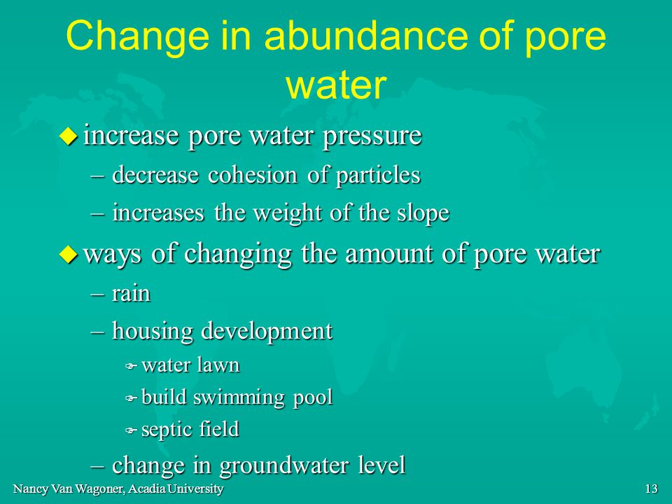 Change in abundance of pore water