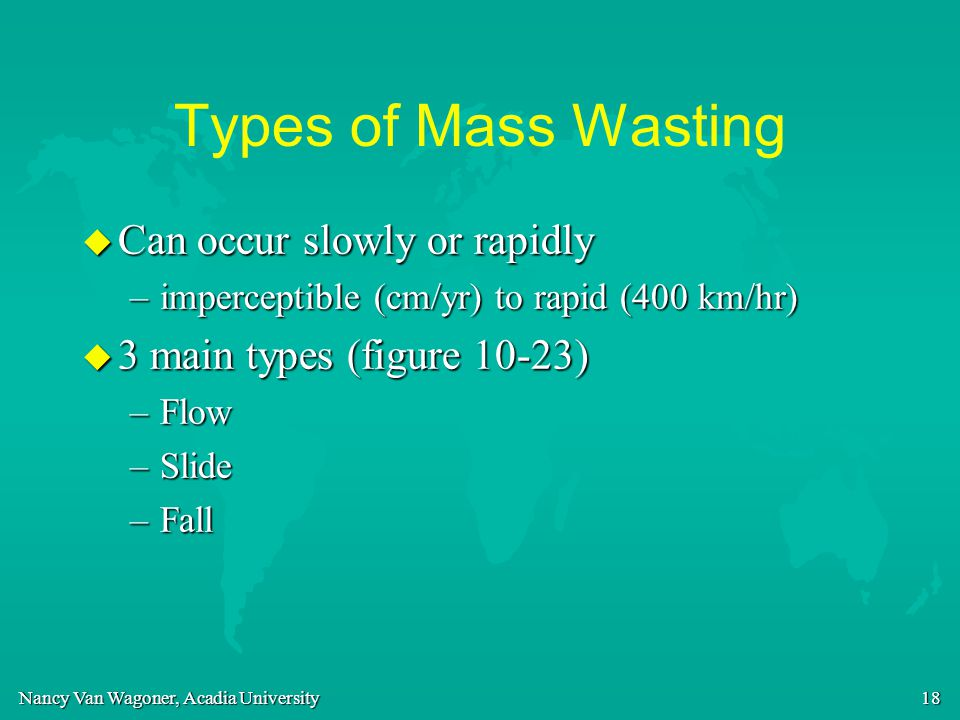 Types of Mass Wasting Can occur slowly or rapidly