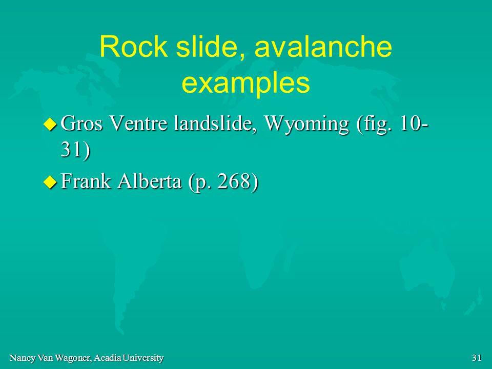 Rock slide, avalanche examples