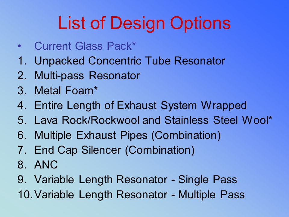 List of Design Options Current Glass Pack*