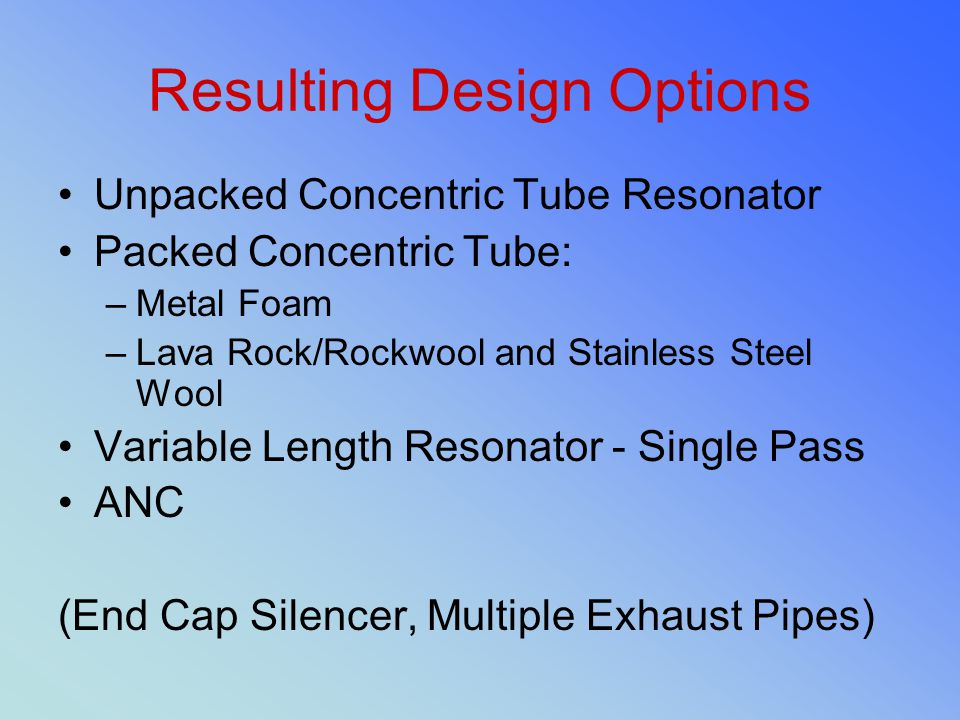 Resulting Design Options