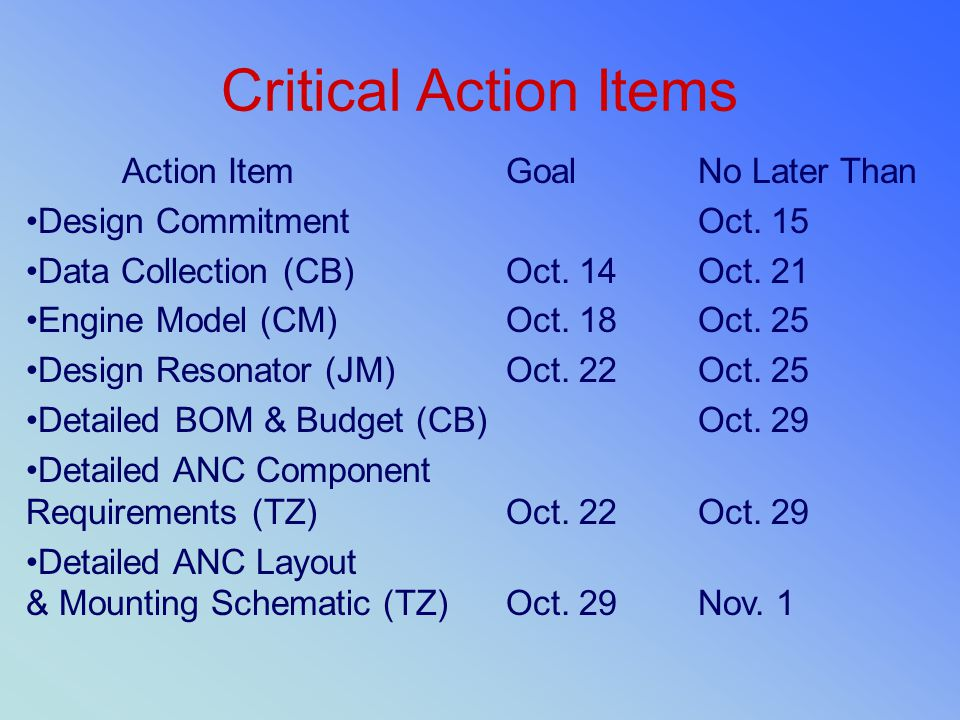 Critical Action Items Action Item Goal No Later Than