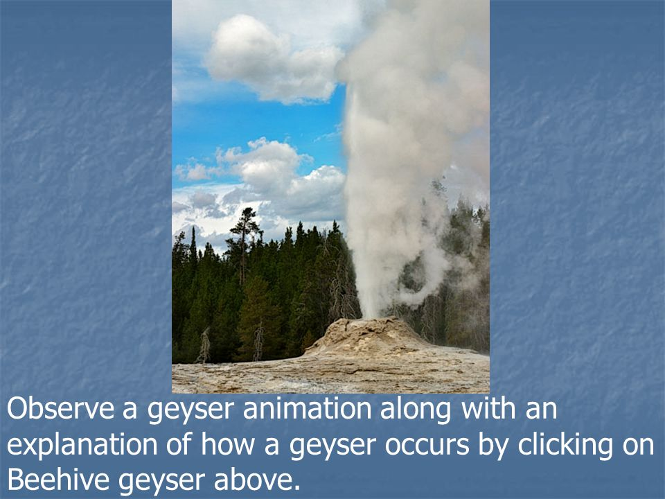 Observe a geyser animation along with an explanation of how a geyser occurs by clicking on Beehive geyser above.
