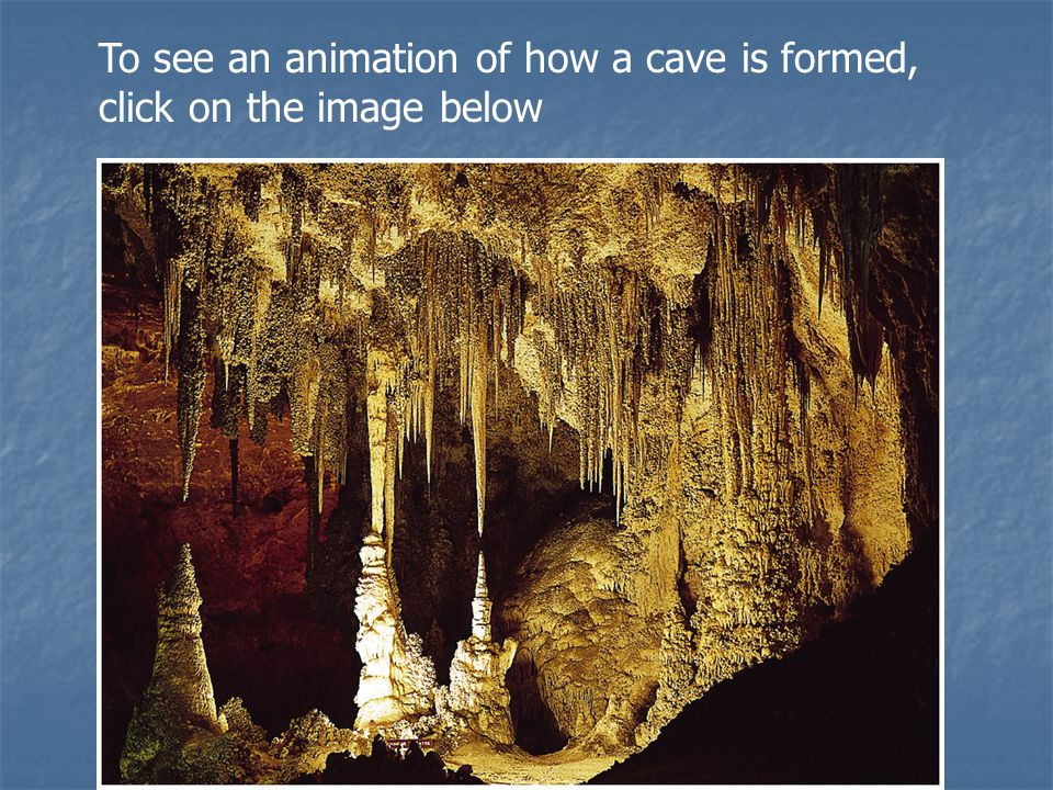 To see an animation of how a cave is formed, click on the image below