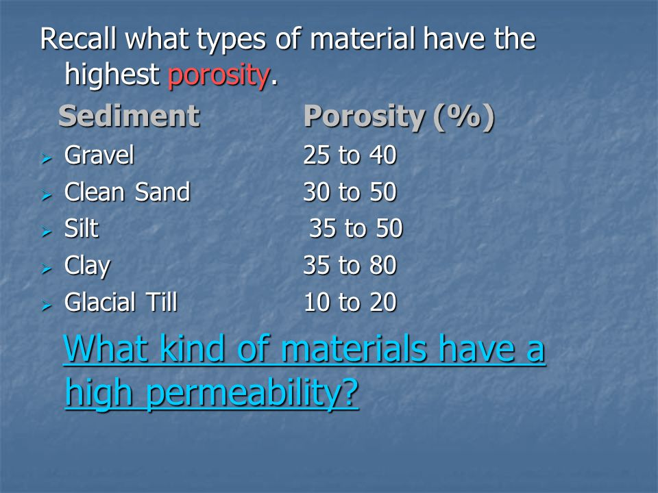 What kind of materials have a high permeability