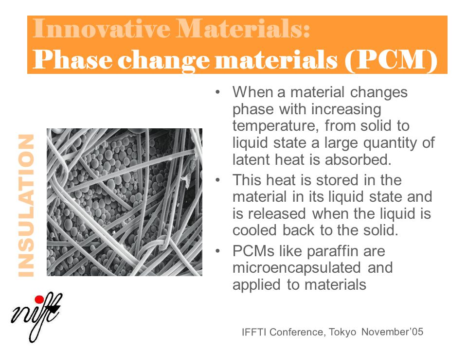 Innovative Materials: Phase change materials (PCM)