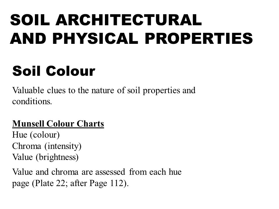 SOIL ARCHITECTURAL AND PHYSICAL PROPERTIES