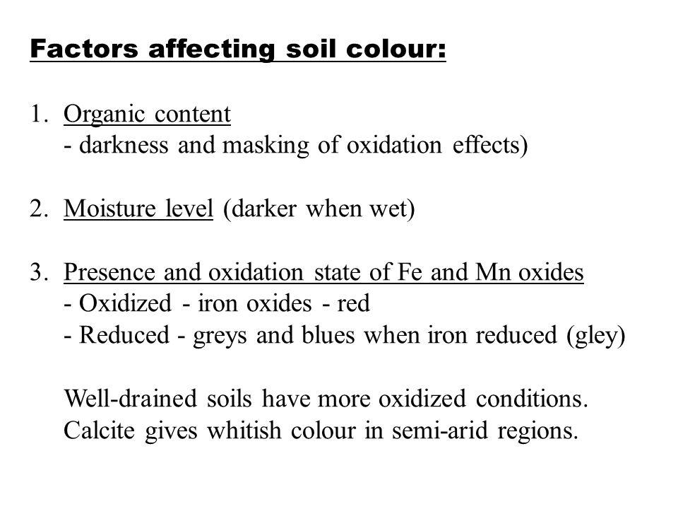 Factors affecting soil colour: