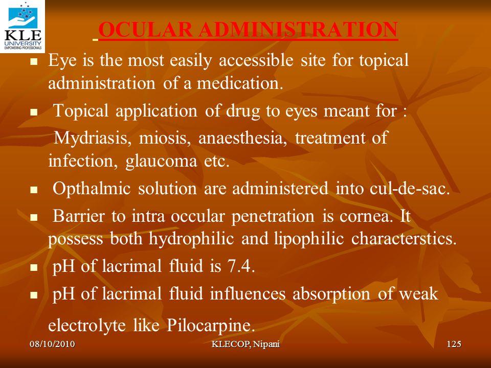 OCULAR ADMINISTRATION