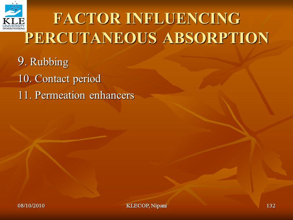 FACTOR INFLUENCING PERCUTANEOUS ABSORPTION