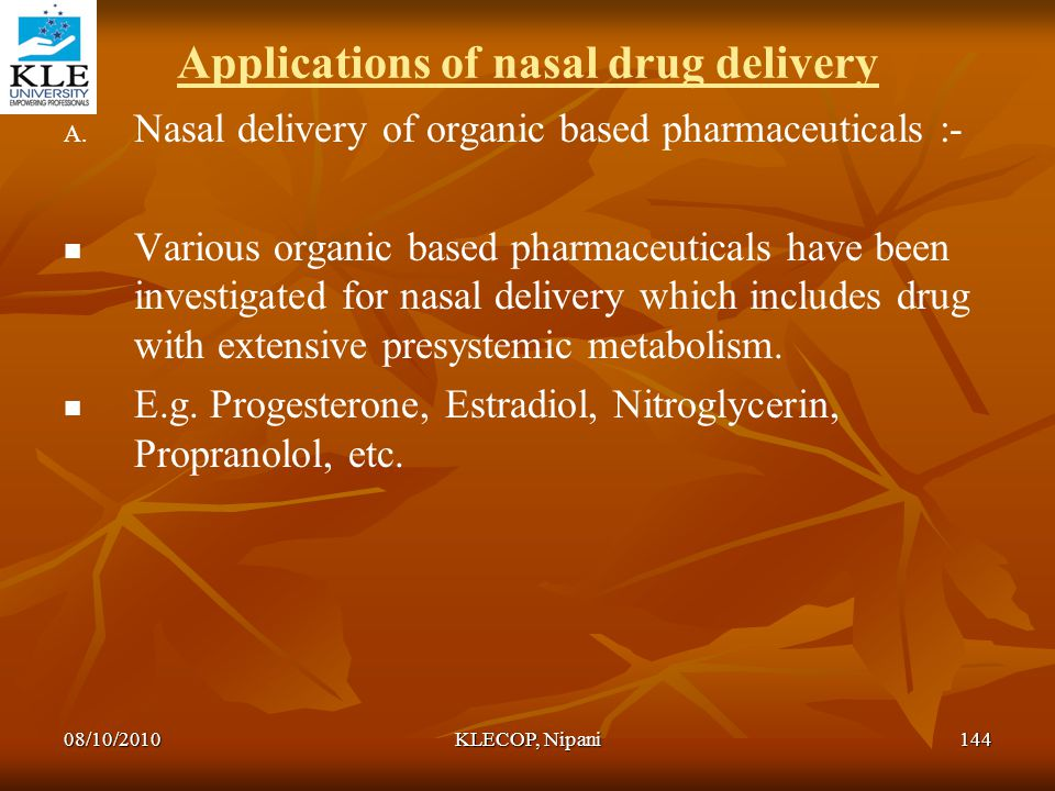 Applications of nasal drug delivery